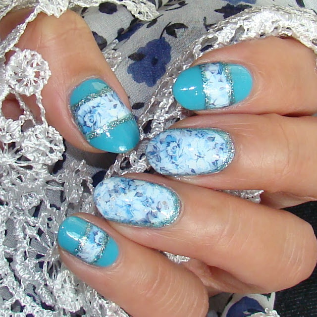 Soothing Blue Floral Water Decal Nail Art by Pretty Nails and Tea