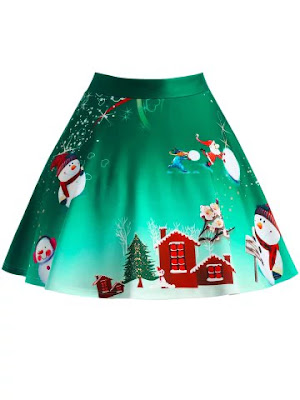 Christmas Tree Snowman Wintersweet Print Ombre Skirt