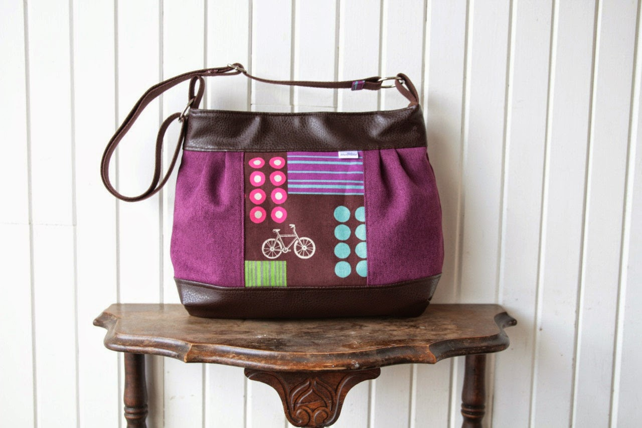 77a0db1e53a0 Large Pleated Zippered Cross Body Bag in Echino Bicycles with Vegan Leather