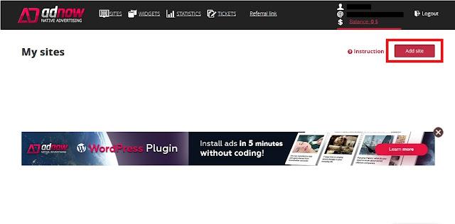 Setelah Sobat Login, Sobat klik Add Site untuk menambahkan situs/blog Sobat.