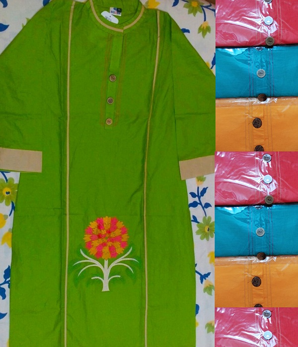 Embroidery Designer 100% Fine Cotton Kurti - Price Rs.450 ONLY