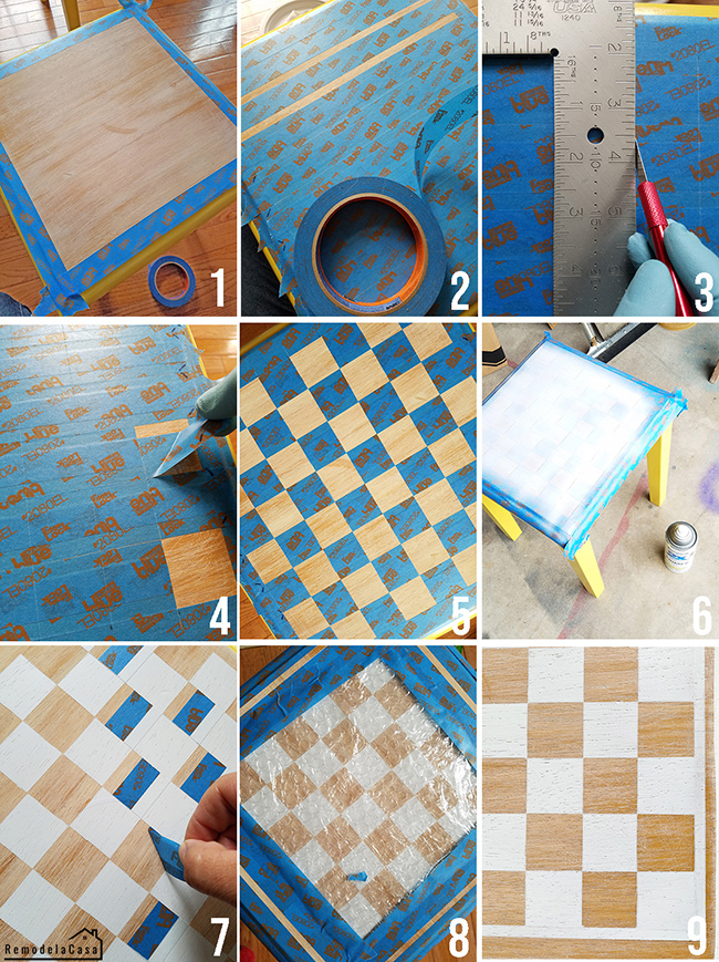 white nesting tables with checkers game on it #diygamechallenge