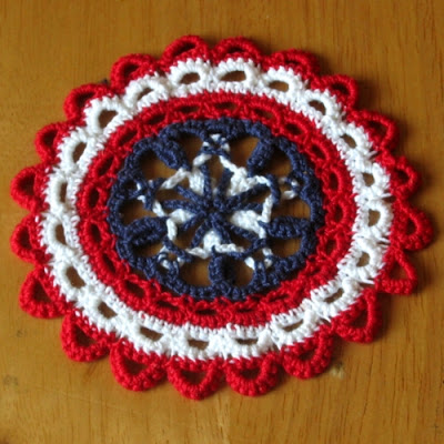 Patriotic Americana Star Coaster Set of 6 - Handmade by RSS Designs In Fiber