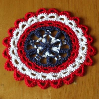 Patriotic Americana Star Coaster Set of 6 - Handmade by RSS Designs In Fiber
