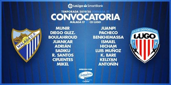 Málaga, lista de convocados ante el Lugo