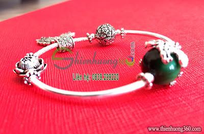 Vòng đeo tay đá phong thủy mix bạc Thái 925
