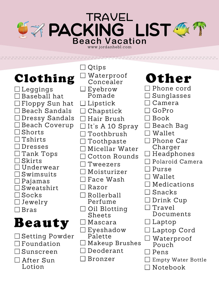 JORDAN HEBL Packing List for a Beach Vacation + Free Printable