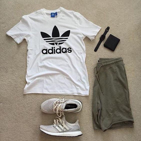 look masculino com camiseta adidas