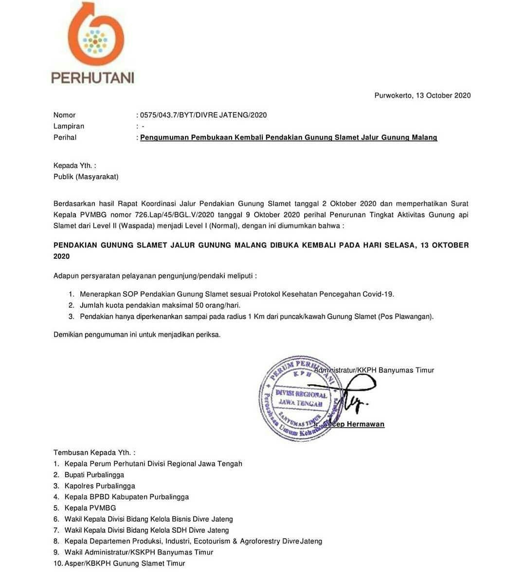 surat pembukaan pendakian gunung slamet via gunung malang