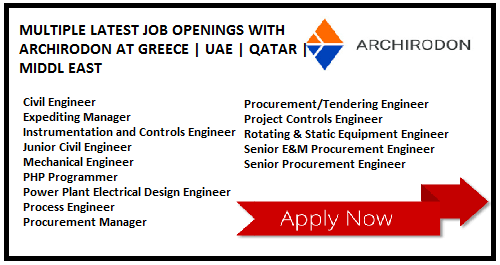 MULTIPLE LATEST JOB OPENINGS WITH ARCHIRODON AT GREECE | UAE