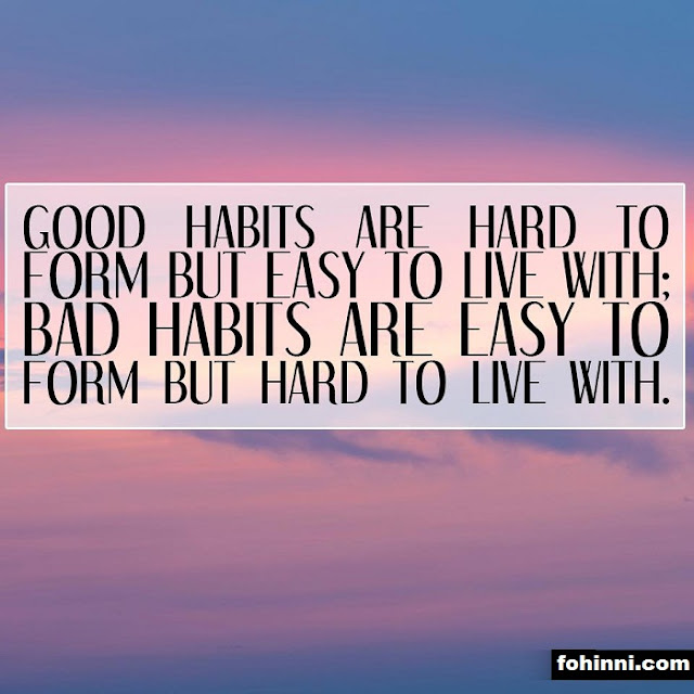 Good Habits Are Hard To Form But Easy To Live WIth, Bad Habits Are Easy To Form But Hard To Live With.