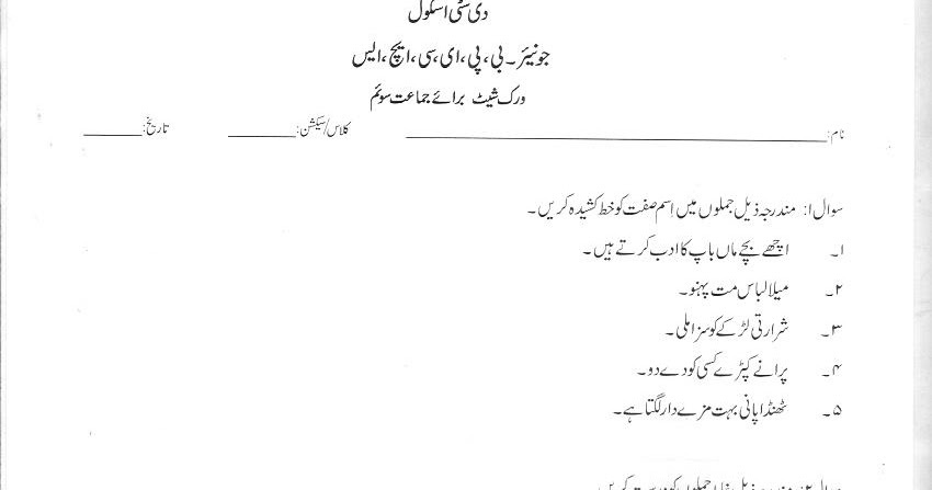 The City School: Grade 3 Urdu Revision Worksheet
