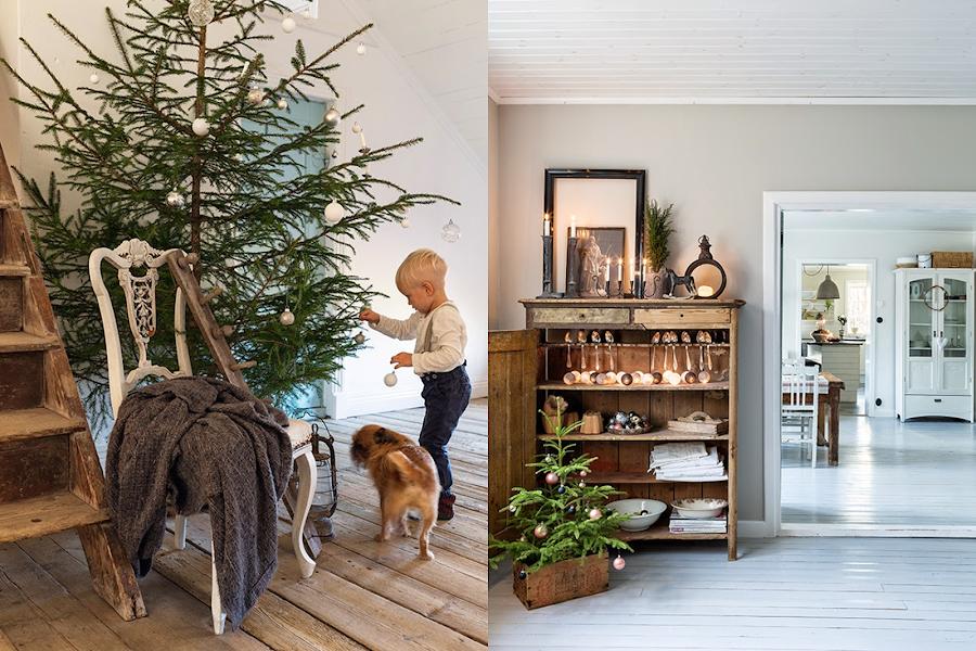Decoraci n de navidad en una granja de noruega decoraci n - Salones decorados para navidad ...