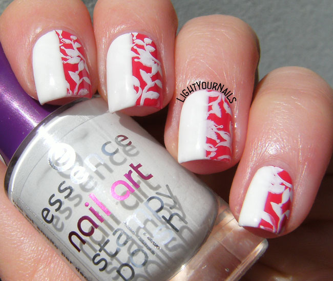 White and red floral nail art