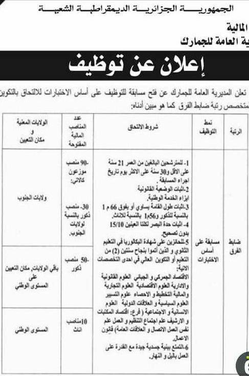اعلان توظيف بالجمارك الجزائرية ذكور اناث ديسمبر 2017
