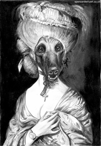 A surreal painting of a aristocrat that has turned in to a Afghan Hound