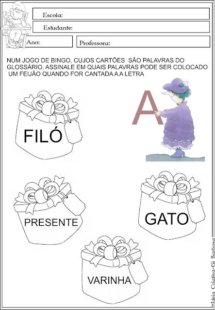 Atividade Alfabetização Pinta Palavras Filó e Marieta de Eva Furnari