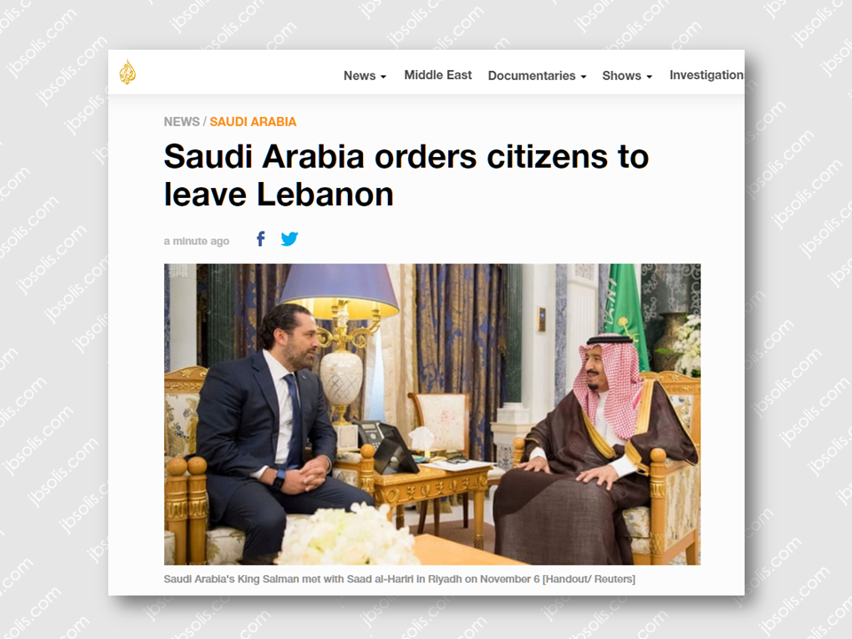 Saudi Arabia has released an advisory to their citizen not to travel to Lebanon and orders its citizen which is already in Lebanon to leave as soon as possible and return to the Kingdom.  Sponsored Links   Lebanon has been on the rough ride since Prime Minister Saad al-Hariri resigned, while on a visit to Saudi Arabia. He was nowhere to be found since then. However, officials told Al Jazeera that Hariri may be under house arrest or detained temporarily in Riyadh. Meanwhile, Kuwait has also ordered its nationals to leave Lebanon at once. The warning was issued by Kuwait's foreign ministry, according to a statement carried by state news agency KUNA.  Kuwait urges citizens to leave Lebanon immediately - MoF statementhttps://t.co/pVKO0qHsb2 — kuna (@kuna_en) 9 November 2017 Source: Al Jazeera   Advertisement Read More:     ©2017 THOUGHTSKOTO