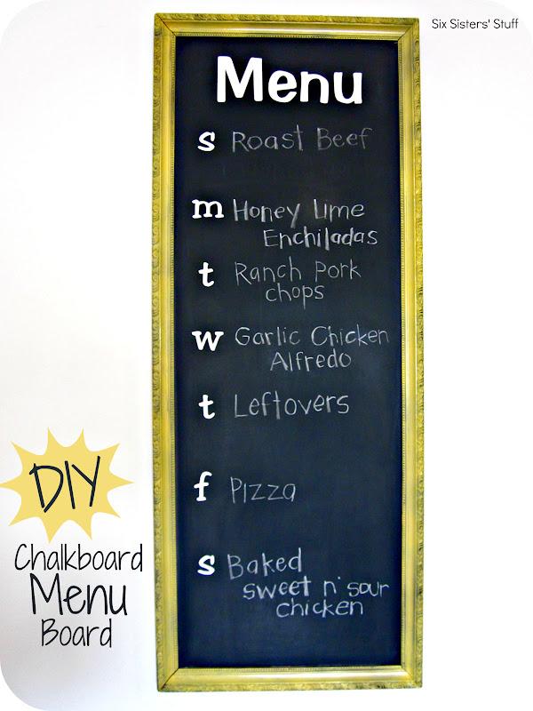 DIY Chalkboard Menu Board Planner Tutorial / Six Sisters ...