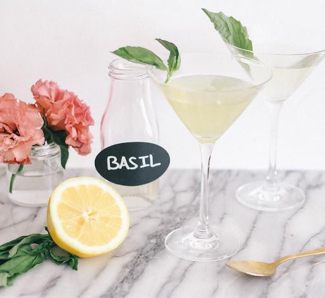 Lemon Basil Martini Spring Cocktail