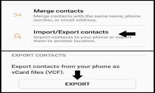 Export / import kontak di tap memori