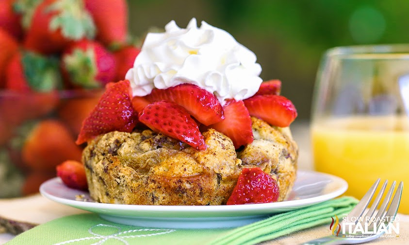 Overnight French Toast Casserole Cups close up