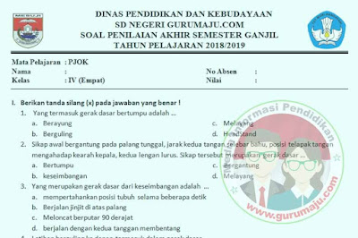 Soal UAS / PAS PJOK Kelas 4 Semester 2 K13 Revisi 2018