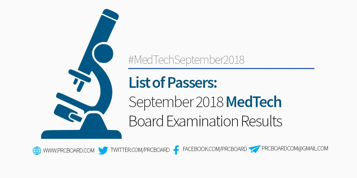 LIST OF PASSERS: September 2018 MedTech Board Exam Result