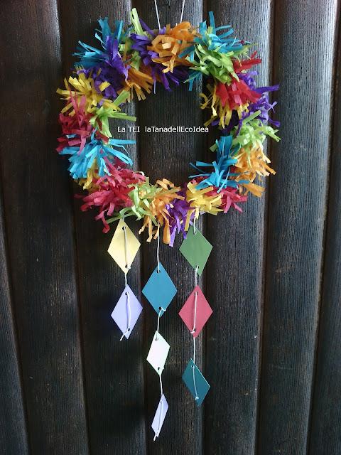 Ghirlanda colorata appena alla porta