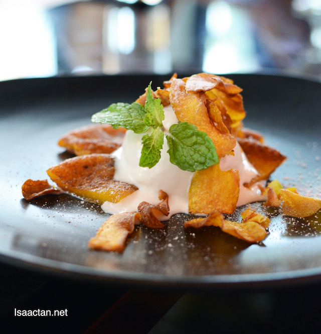 Caramelized Pumpkin Rice Cake with Smoked Coconut Ice Cream - RM22