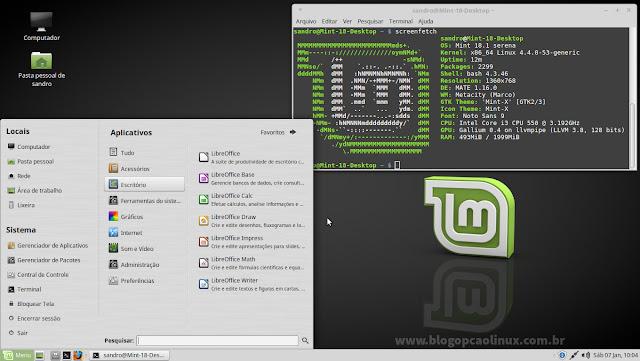 """Área de trabalho do Linux Mint 18.1 """"Serena"""", com o ambiente de desktop MATE"""