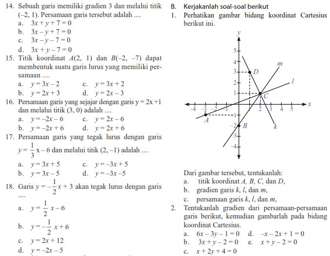 Soal Matematika SMP Kelas 8 Bab Persamaan Garis Lurus Semester 1  Warung Education