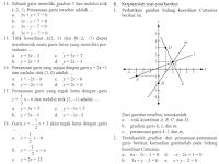 Soal Matematika SMP Kelas 8 Bab Persamaan Garis Lurus Semester 1