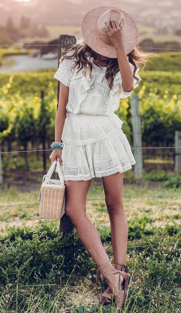simple outfit idea / straw bag + hat + nude espadrilles + white romper