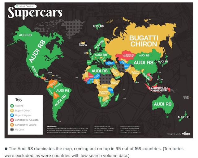 アウディの「R8」が世界で最も検索されているスーパーカーに?