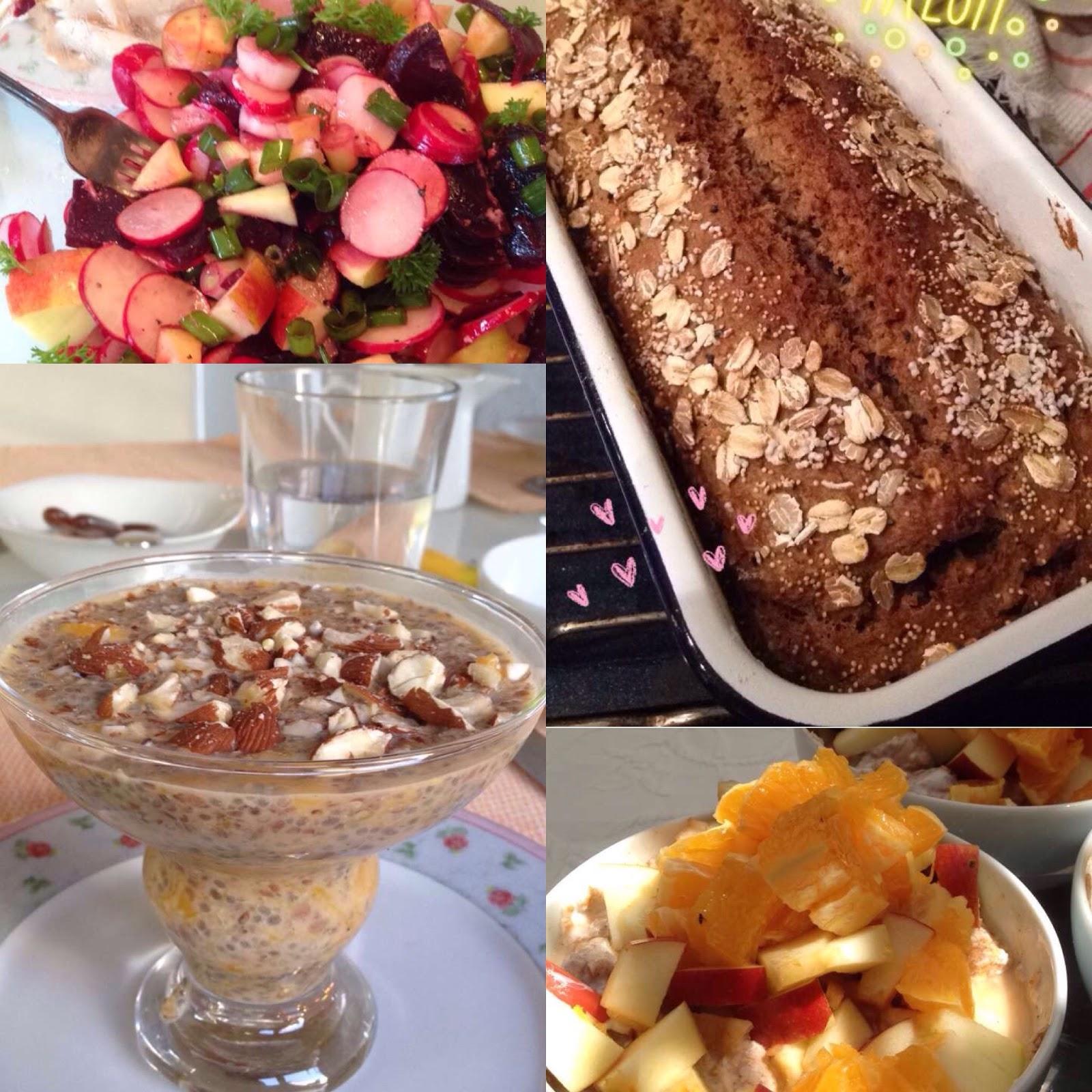 Vollkornbrot, Radieschen-Salat und Chia-Bowl - gesund leben macht Spaß!