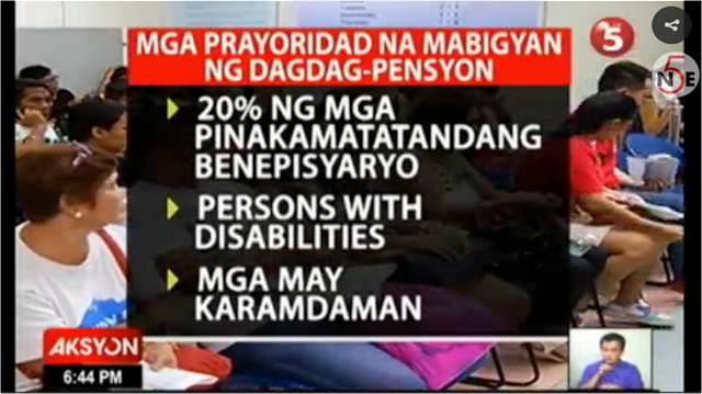 They are looking for a P 2,000 increase in pension. Priority for this are the following:   upper 20% of SSS Pensioners according to seniority or age person with disabilities pensioners who are sick