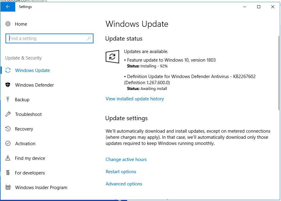 Cập Nhật Windows 10 April 2018 Update Version 1803 Build 17134.1