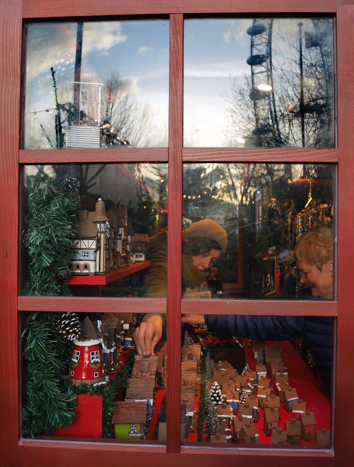 A market stall window at the Southbank Christmas Market in London