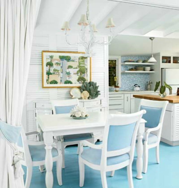 Coastal white kitchen with aqua painted floors