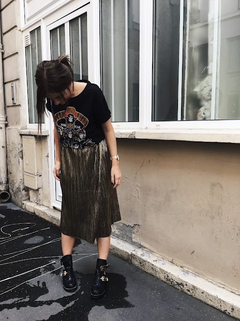 look outfit ootd love rock metal gold jupe sheen top zara boots shoes women blog blogger trucsetastuceslifestyle trucsetastuces paris