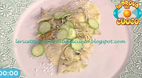 Prova del cuoco - Ingredienti e procedimento della ricetta Ravioli alla menta con zucchine fritte e carciofi di Ambra Romani