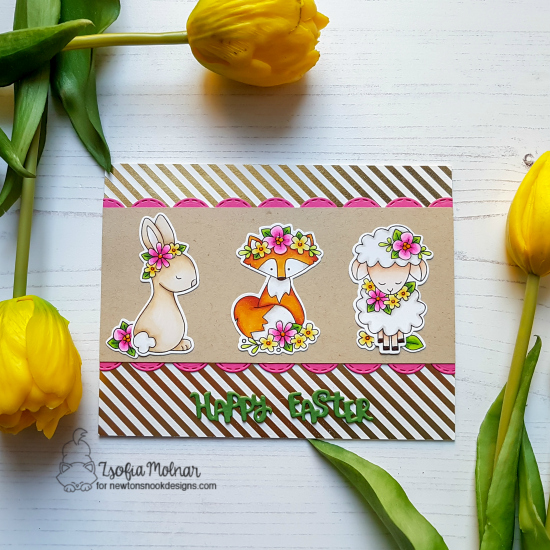 Spring animals card with flowers by Zsofia Molnar | Woodland Spring Stamp Set and Sky Borders Die Set by Newton's Nook Designs #newtonsnook #handmade