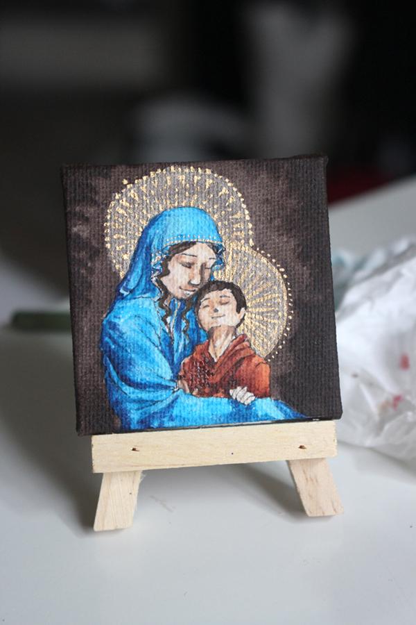 vierge à l'enfant miniature à l'acrylique