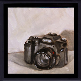 Smile original oil painting of a camera by artist Merrill Weber