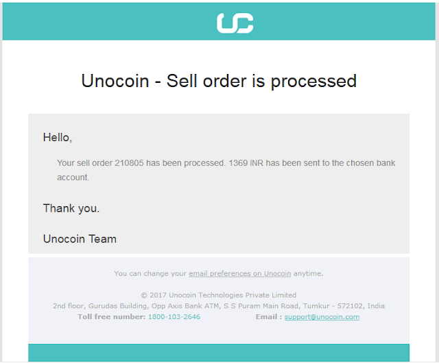 Bitcoin payment in unocoin