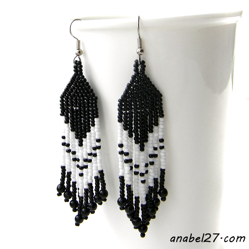 black & white fringe beaded earrings - dangle earrings - beadwork