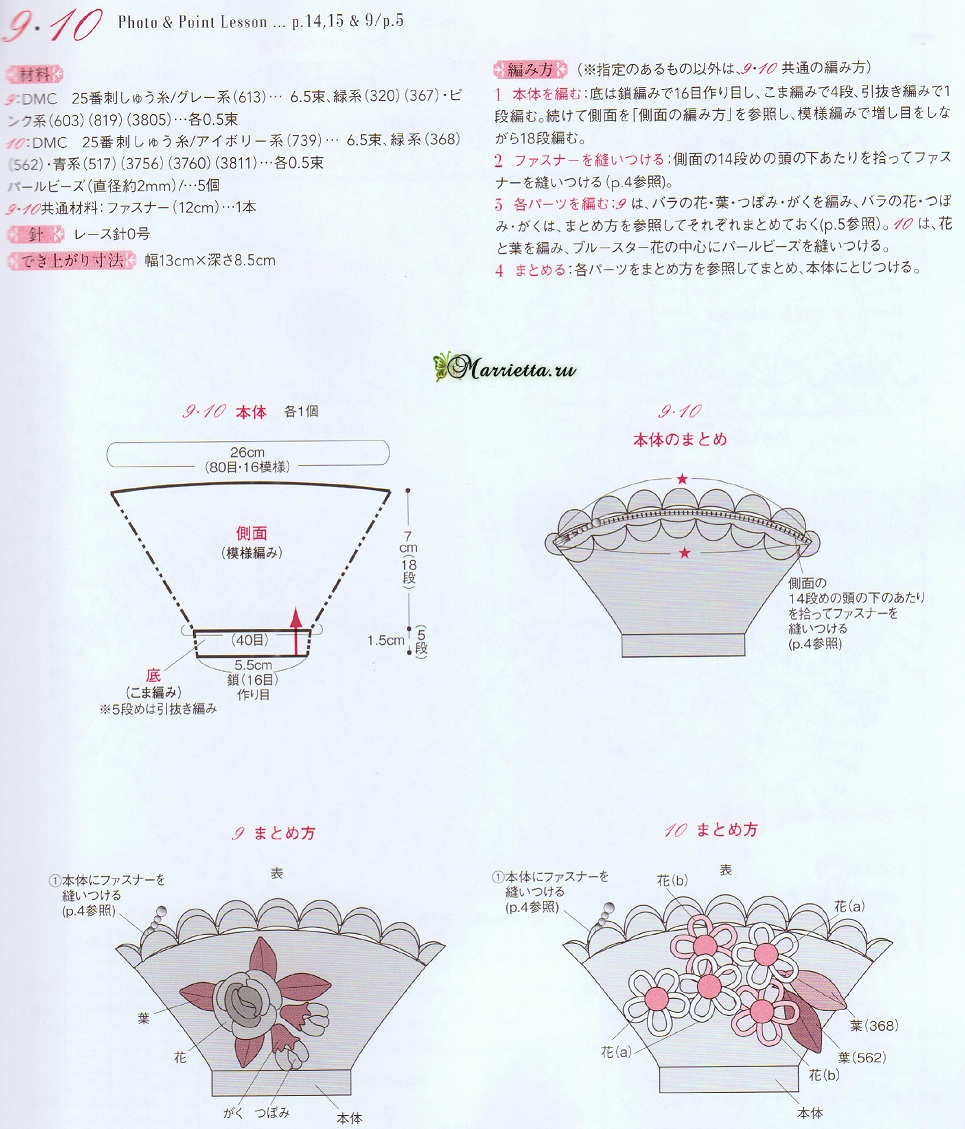 Кошельки «Корзинки с цветами» крючком (3)