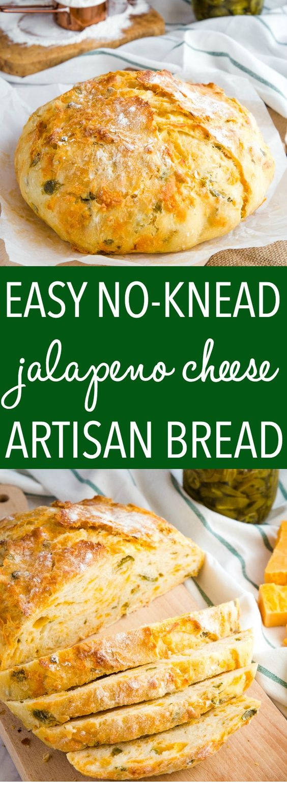 Easy No Knead Jalapeno Cheese Artisan Bread