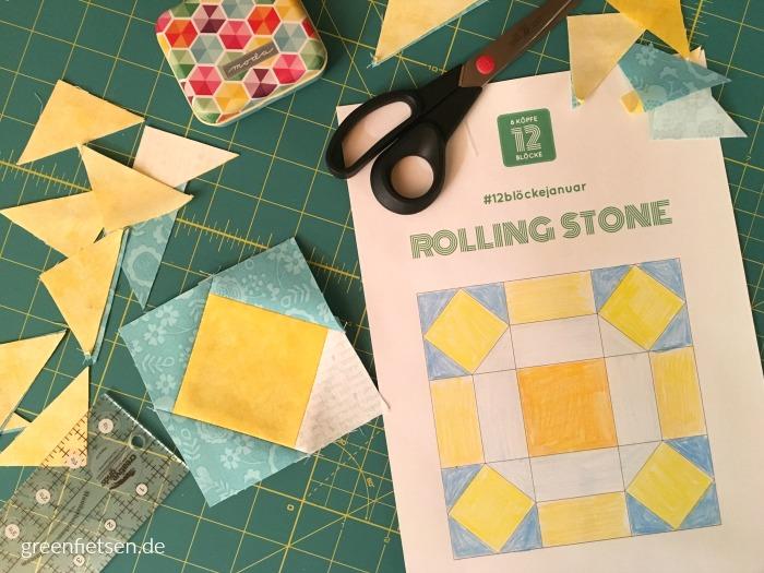 6 Köpfe - 12 Blöcke | Square-in-Square und Ausmalbild Rolling Stone